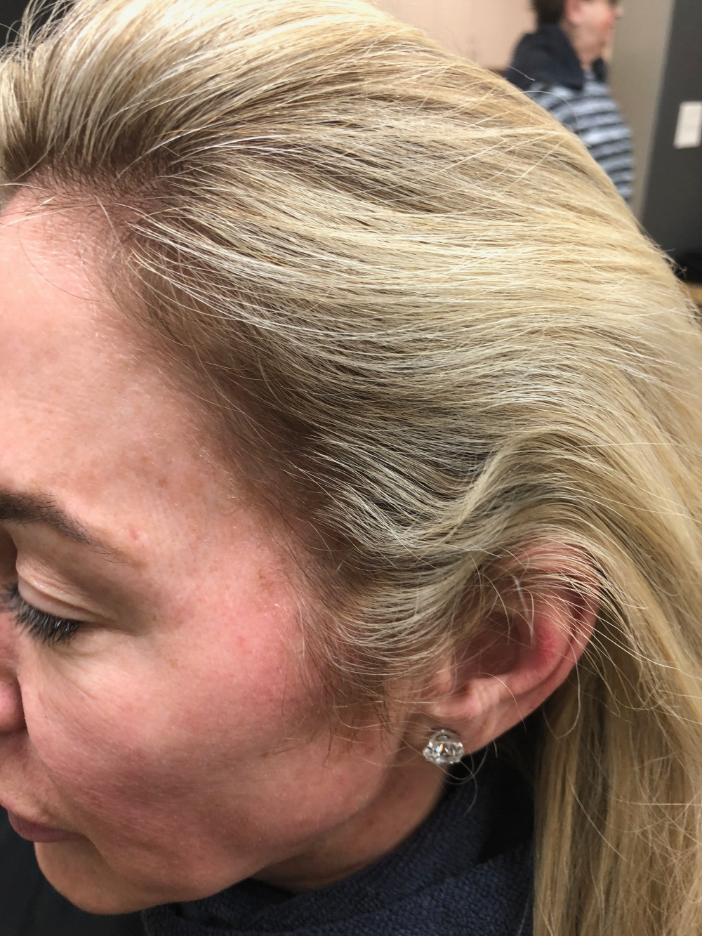 Before hair color correction on blond hair 2018